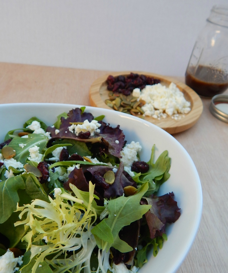 Cranberry Feta Pumpkin Seed Fall Salad Balsamic Vinaigrette (10)