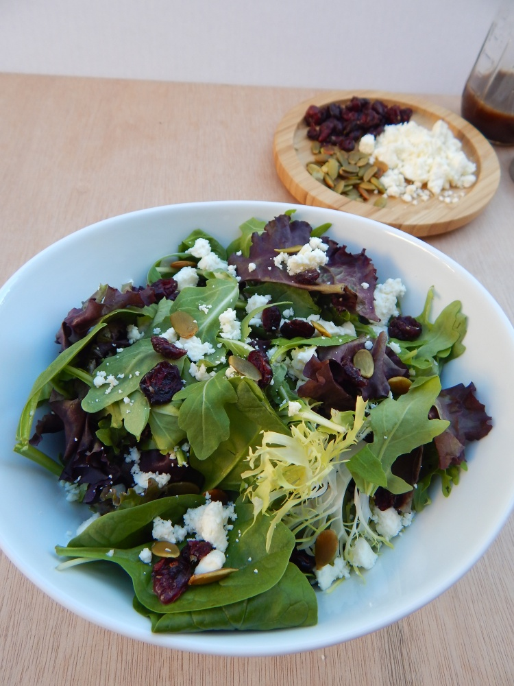 Cranberry Feta Pumpkin Seed Fall Salad Balsamic Vinaigrette (5)