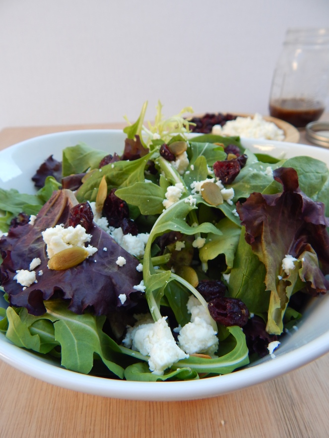 Cranberry Feta Pumpkin Seed Fall Salad Balsamic Vinaigrette (6)