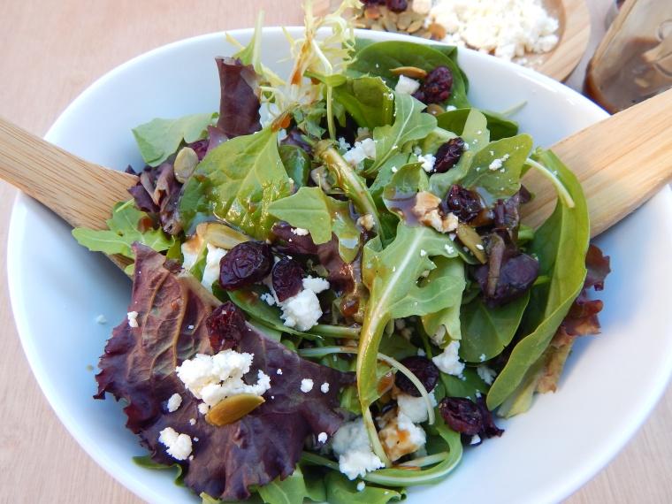 Cranberry Feta Pumpkin Seed Fall Salad Balsamic Vinaigrette (9)