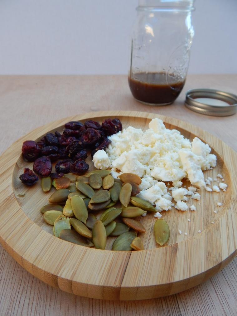 Cranberry Feta Pumpkin Seed Fall Salad Balsamic Vinaigrette